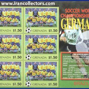 بلوک یادگاری تمبر جام جهانی 2006 آلمان چاپ گرانادا کشور برزیل