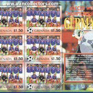 بلوک یادگاری تمبر جام جهانی 2006 آلمان چاپ گرانادا کشور فرانسه