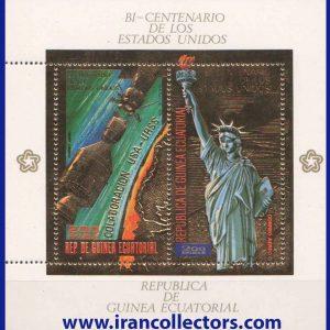 بلوک با دندانه تمبر ویژه طلایی چاپ برجسته فضایی و مجسمه آزادی آمریکا چاپ گینه استوایی