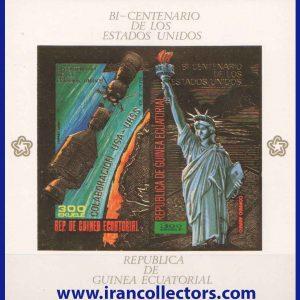 بلوک تمبر ویژه طلایی چاپ برجسته فضایی و مجسمه آزادی آمریکا چاپ گینه استوایی