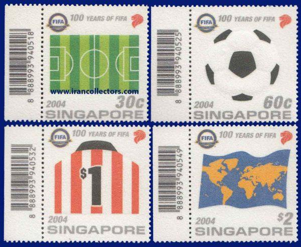 سری تمبر ویژه صدمین سال فیفا از جنس کاغذ پارچه ای سنگاپور