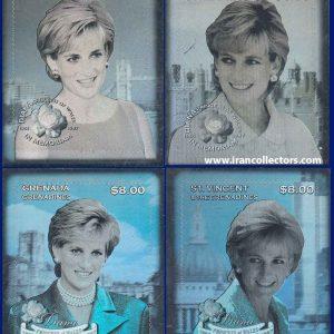 ست زیبای تمبر هلوگرام دیانا 1998 سنت وینسنت
